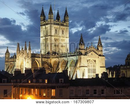 Bath Abbey In Bath At Night