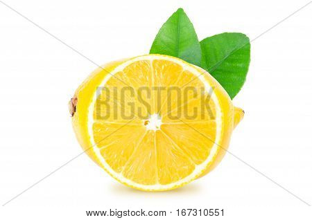 Whole lemon fruit and a round slice with green leaves isolated on white background with clipping path. Isolated lemon.
