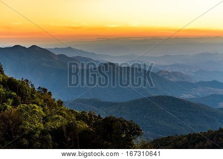Beautiful mountain landscape with sunrise in Thailand