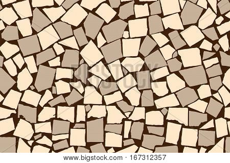 Seamless texture of ivory and grey asymmetric decorative tiles. Vector illustration