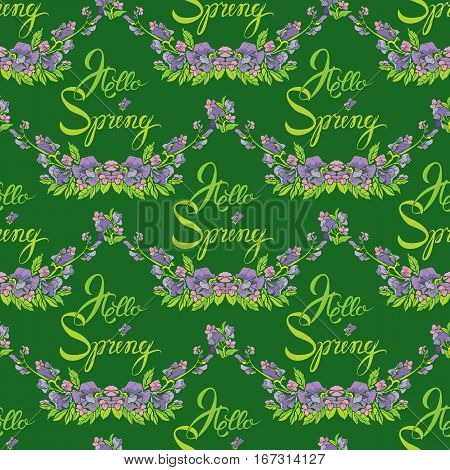 Seamless pattern with flowers and calligraphic handwritten text Hello Spring on green backdrop - hand drawn background.