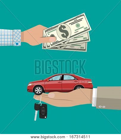 hand gives car and keys to another hand with money. buy, rental or lease a car. vector illustration in flat style