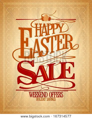 Easter sale, holiday savings calligraphic design, vintage style, rasterized version
