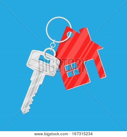 Metal key with keychain house in flat style. vector illustration