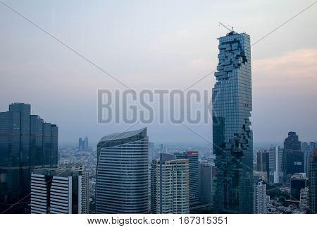 BANGKOK, Thailand - January 29, 2017: View at MahaNakhon skyscraper, condominium in Bangkok city downtown with sunset sky.