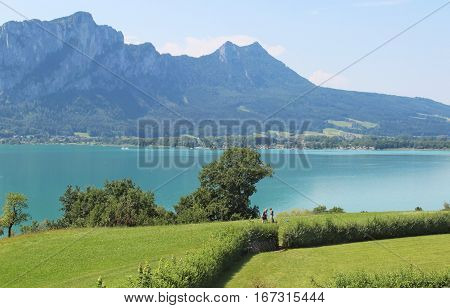 Amazing view of Mondsee and Alps in summer Austria