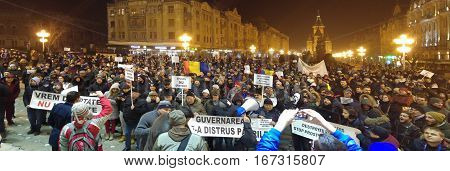 TIMISOARA ROMANIA - 01.29.2017: anti government protests against pardon manifestation crowd