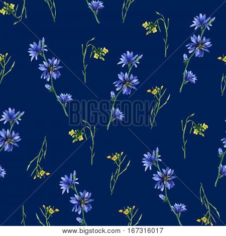 Seamless pattern with yellow rocket and blue chicory flowers. Hand drawn watercolor painting on dark blue background.