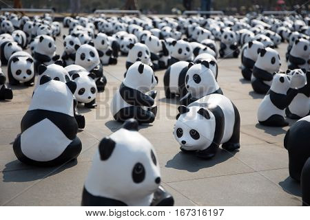 Bangkok Thailand - March 4 2016: Panda+ World Tour by WWF (World Wildlife Fund) set for to raise an awareness to conserve pandas wildlife and environments.