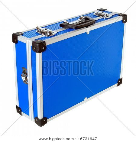 Blue aluminic case on white background (isolated with path).