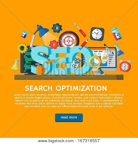 Workplace expert in SEO. Design concept for website promotion banner in flat style. Website development search engine optimization. Web analytics elements. Web design illustration with icons.