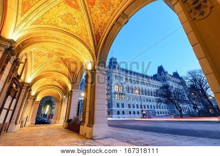 View on the Vienna town hall under the arch. Austria. Europe.
