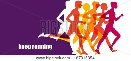 health jogging. banner, healthy lifestyle. fitness exercise lifestyle cartoon vector concept