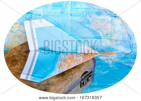 Suitcase And Maps On White Background