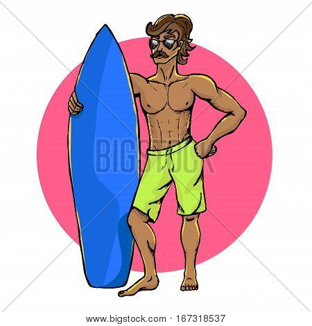A hand drawn illustration of a surfer with a surfboard on the beach. Vector, isolated on white.