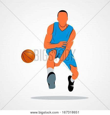 Abstract basketball player with ball on a white background illustration.