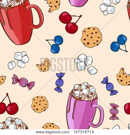 Colorful sweet food pattern with cocoa drink marshmallows biscuit berries and candies vector illustration