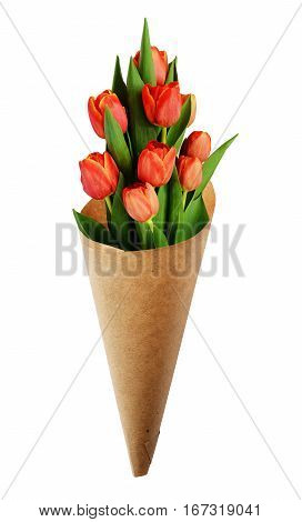 Bouquet of red tulip flowers in a craft paper cornet for Woman's day isolated on white