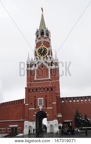 The scenic Spasskaya Tower of the Moscow Kremlin facing Red Square in Moscow Russia