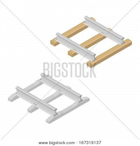 Railroad tracks with wooden and concrete sleepers isolated on white background. Flat 3D isometric style vector illustration.