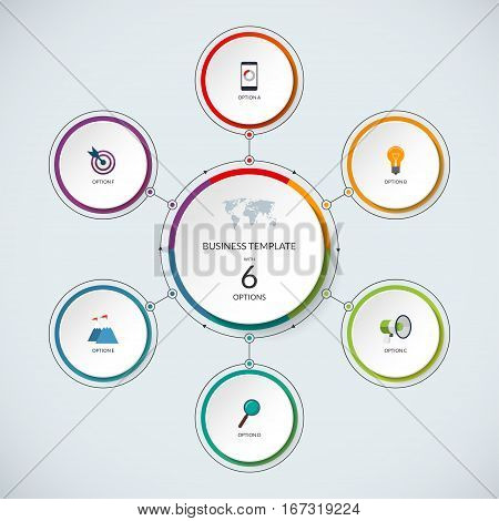 Infographic circle. Modern minimalistic template with 6 options. Vector banner, what can be used as circular chart, cycle diagram, graph, workflow layout for report, business presentation, web design.