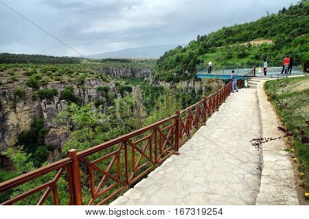 Karabuk, Turkey - May 10, 2013: Crystal Terrace on incekaya (Tokatli) Canyon in Safranbolu/Turkey. This platform has 80 meters height. and incekaya canyon has wonderful trekking racecourse.