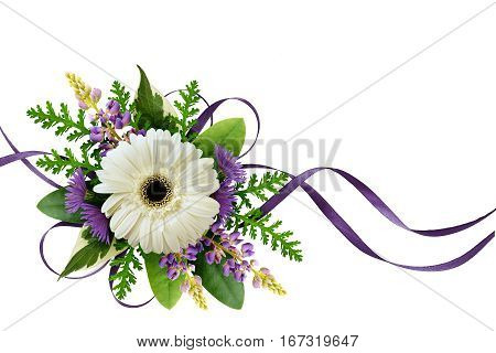 Arrangement with flowers and silk ribbons isolated on white