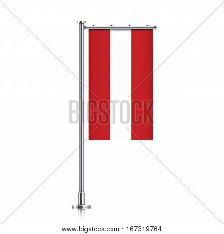 Austria vector banner flag hanging on a silver metallic pole. Vertical Austria flag template isolated on a white background.