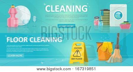 Cleaning service horizontal banners with dish washing sweeping laundry and household equipment vector illustration