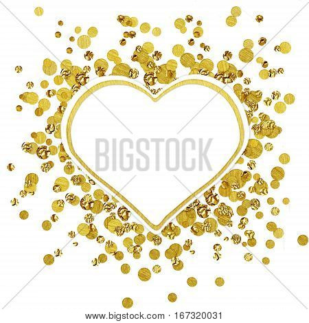 White round card on scattered gold confetti isolated on white