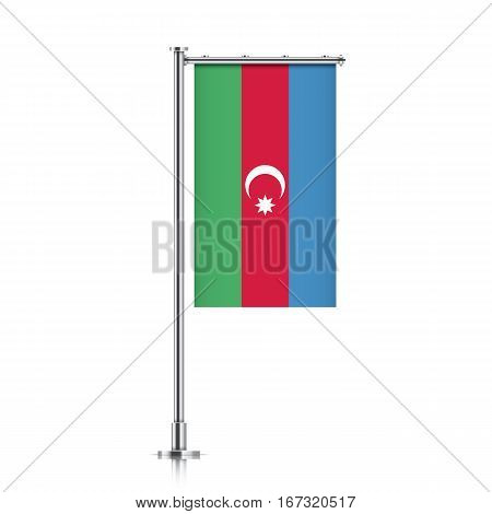 Azerbaijan vector banner flag hanging on a silver metallic pole. Vertical Azerbaijan flag template isolated on a white background.