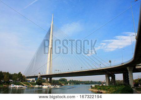 Ada bridge in the center of Belgrade - Serbia