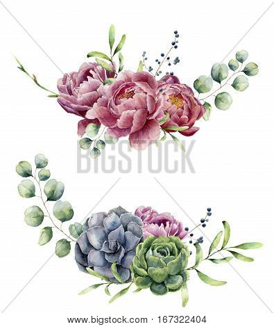 Watercolor floral composition isolated on white background. Vintage style posy set with eucalyptus branches, succulents, peony , berries, greenery and leaves. Flower hand painted design.
