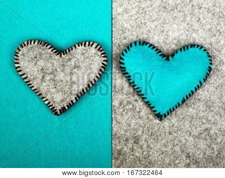 Two hearts on different backgrounds metaphor of relationship