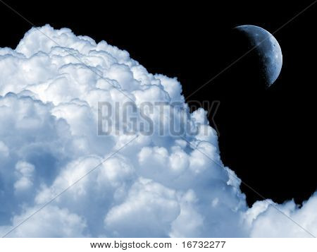 Moon and white fluffy cloud on black sky.