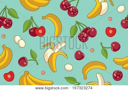 Seamless background with cherries and bananas. Vector summer fruit illustration.