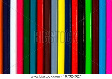 Vertical Colourful Stripes Of Multicolored Wooden Pencils Background