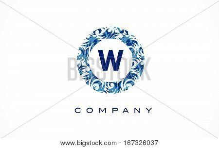 Letter W Blue Pattern Logo Design.