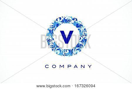 Letter V Blue Pattern Logo Design.