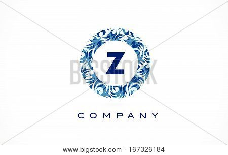 Letter Z Blue Pattern Logo Design.