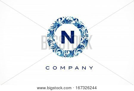 Letter N Blue Pattern Logo Design.
