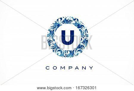 U Logo Blue Pattern Logo. Letter U Flower Texture Icon Vector.