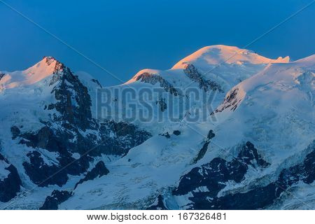 Mont Blanc is the highest mountain of historic Europe. 4810 m altitude
