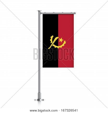 Angola vector banner flag hanging on a silver metallic pole. Vertical Angola flag template isolated on a white background.