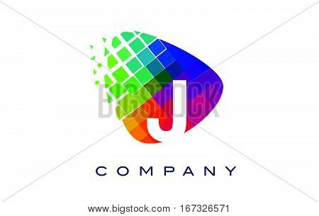 Letter J Colourful Logo. Rainbow J Letter Icon with Shattered Blocks.