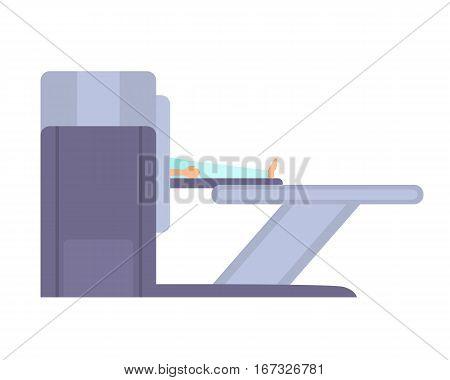 Man in tomography scanner. Magnetic resonance imaging. Vector illustration