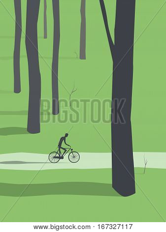 Man cycling through forest vector. Healthy active outdoor lifestyle for relax and recreation. Eps10 vector illustration.