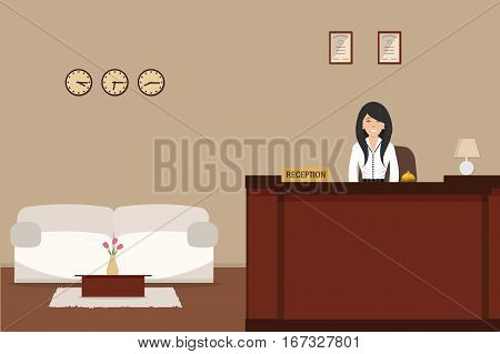 Hotel reception. Young woman receptionist stands at reception desk. There is a white sofa and table with tulips also in the picture. Travel, hospitality, hotel booking concept. Vector illustration