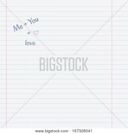 Love concept with copy-space on lined sheet notebook paper