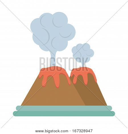 volcan eruption lava mountain cloud vector illustration eps 10